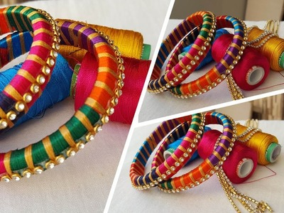 How to make extra thread silk thread bangles at home || latest silk thread bangles