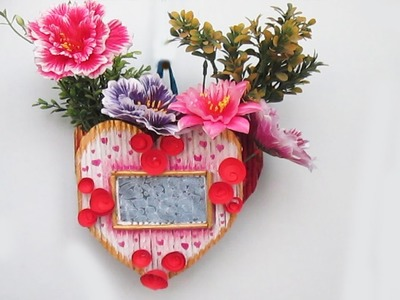 How To Make Flower Vase With Photo Frame using Newspaper