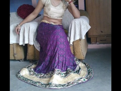 How to make lehanga or ghaghra from sari