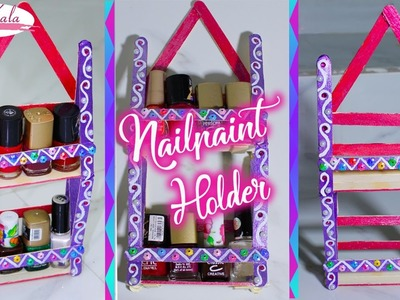 How to make nail polish holder.nail polish rack | popsicle stick crafts | DIY | Artkala