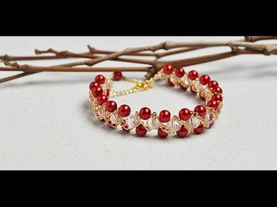 How to Make Pearl Beaded Chain Bracelet with Crystal Glass Beads