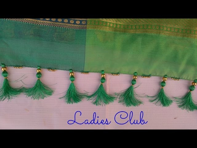 How to make Saree Kuchu with Crystals and Beads Design - 2 I Detailed Tutorial