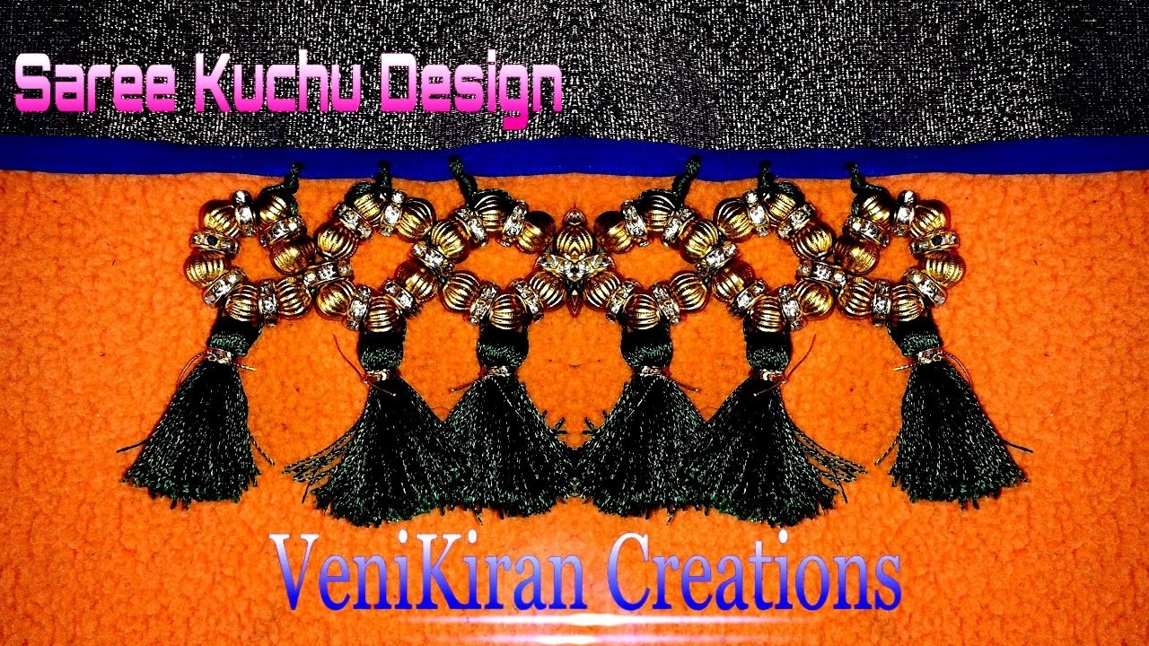 How to Make Saree Tassel.Kuchu design with Beads at Home - Design 11::Tutorial