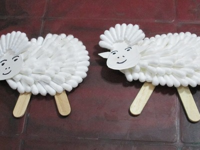 How to make SHEEP Using Cotton Buds for u r Children at Home