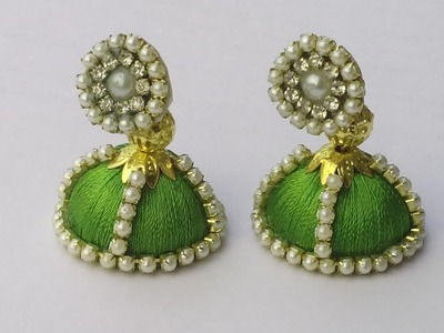 How to make silk thread earrings.jhumkas at home