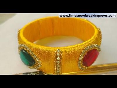 How to make silk thread kada bangle | indian silk thread bangles,silk thread kada bangles making