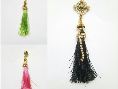 How To Make Silk Thread Tassel Earrings in 5 minutes. .