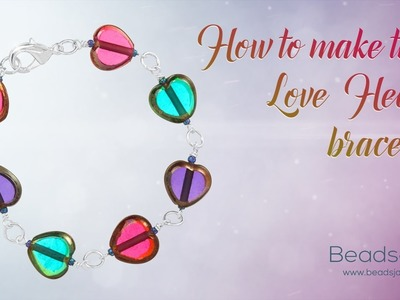 How to make this love heart bracelet | Glass Beads ❤ Valentine Design