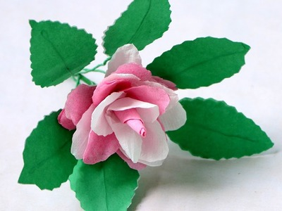 How to Make White and Pink Color Rose Flowers by Tissue Paper - Tissue Paper Rose Flower Making