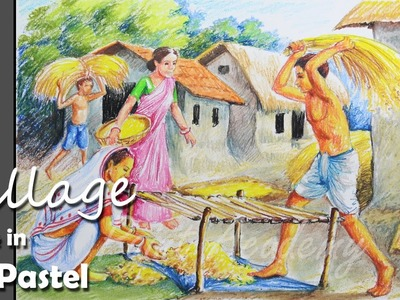How to Paint A Village Scene with Oil Pastel | Thrash Paddy | step by step