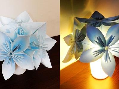 Kusudama night light - learn how to make a kusudama lamp with LED string fairy lights - EzyCraft