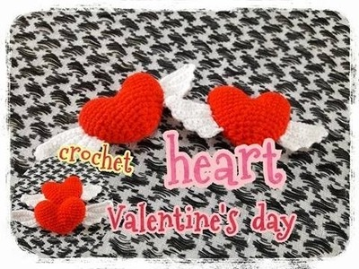 Valentine's day.crochet heart.heart : ถักหัวใจมีปีก