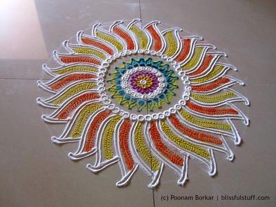 Beautiful flower shaped rangoli design | Creative rangoli designs by Poonam Borkar