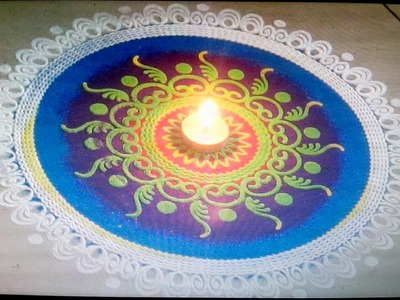 Diwali special  3 minutes rangoli design making using stencil - Creative rangoli making very fast