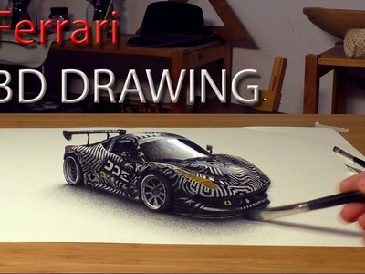 Drawing of Ferrari 458 for Daily Driven Exotics in 3D.speed painting
