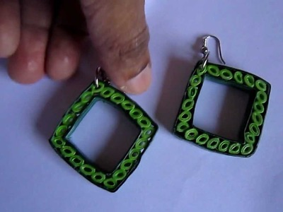 Handmade Paper Quilling Earrings - Square