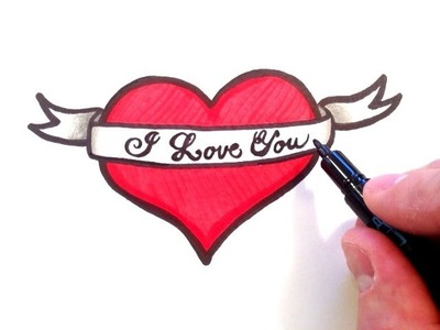 How to Draw a Heart with a Ribbon