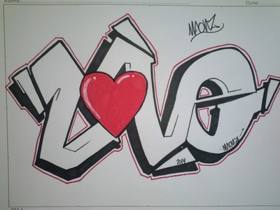 How to draw graffiti love on paper