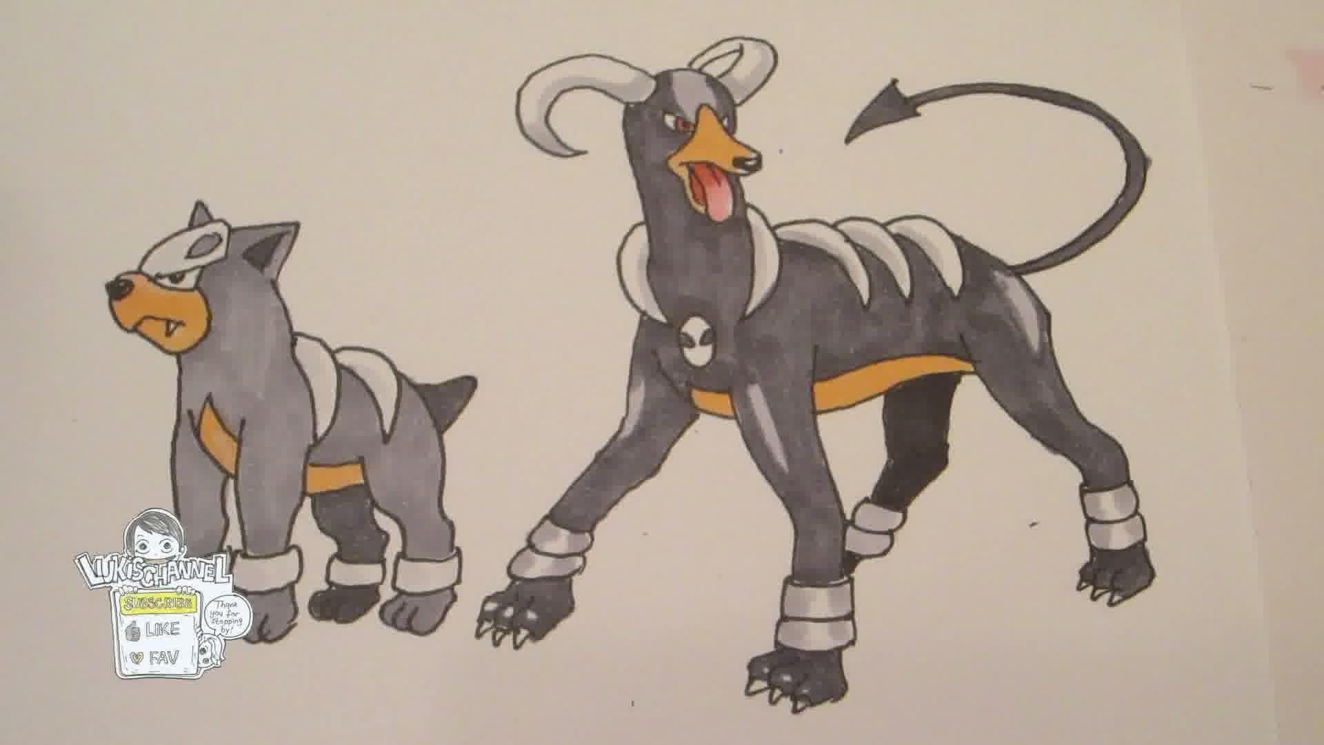 How to draw Pokemon: No.228 Houndour, No.229 Houndoom