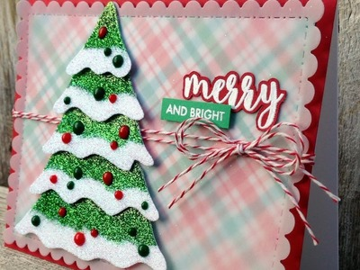 Ombre Glitter Christmas Tree Card -  Merry and Bright - A Card Making Process Video