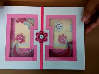 Paper quilling greeting card - Pink