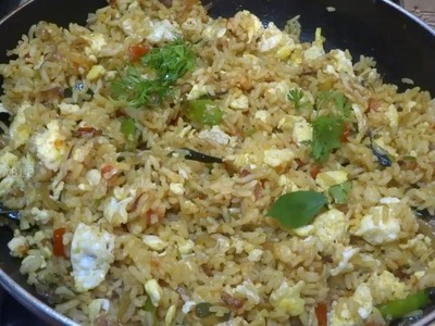 Quick and Easy Egg Fried Rice in Telugu