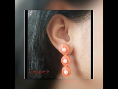 Quilling Stud Earrings Tutorial. Design 4