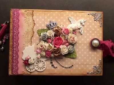 Scrapbook mini album vintage baby girl