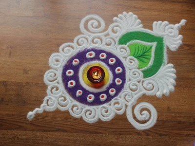 Simple, Easy and Quick Rangoli design with colours for Diwali