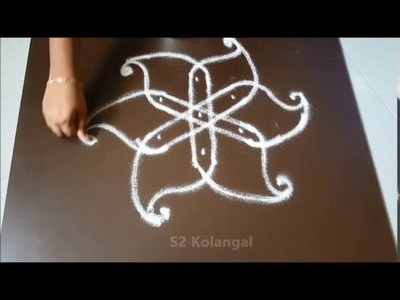 Simple rangoli designs.  kolam designs. chukkala muggulu with 3 dots for beginners