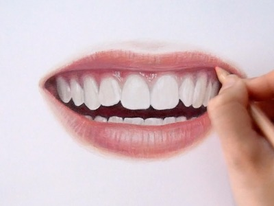 Timelapse   Drawing Coloring realistic lips and teeth with colored pencils   Emmy Kalia