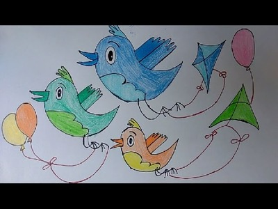 Bird Balloon kites poster drawing, How to Draw Flying Birds, birds flying kites kids art