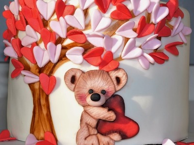 Cake decorating tutorials - how to make a valentine teddy bear cake - Sugarella Sweets