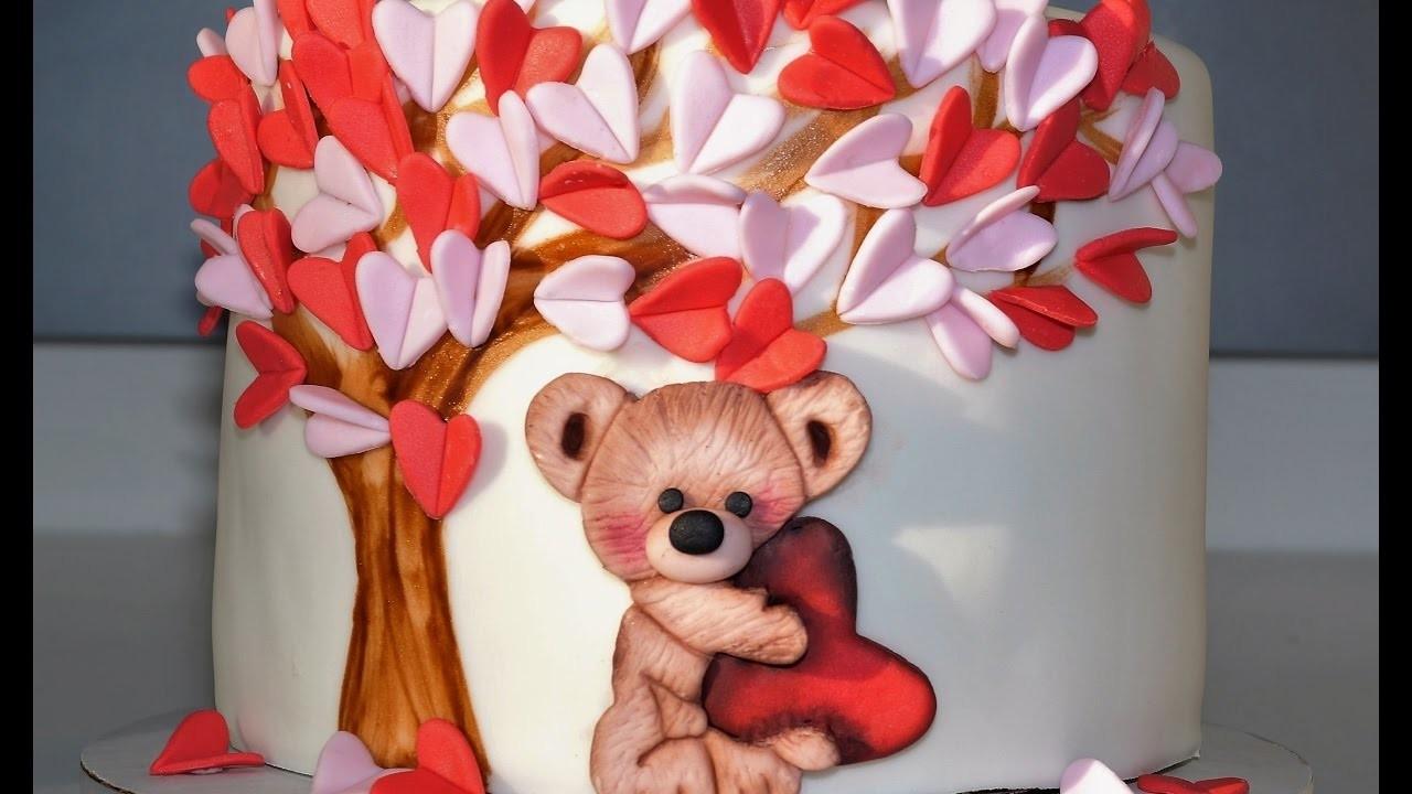 Cake decorating tutorials - how to make a valentine teddy bear cake - Sugarella Sweets
