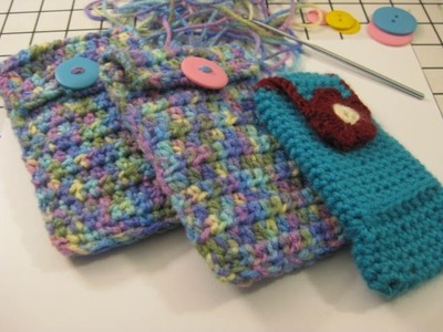 Crochet an easy  Cell Phone Pouch  -  Tutorial