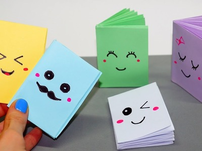 DIY Kawaii notebook of 1 sheet of paper. Mini notebook OF OWN HANDS. Ideas for school. Julia DIY