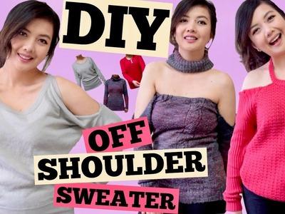 DIY OFF THE SHOULDER SWEATER.Cold Shoulder.Off Shoulder w. Choker.Shoulder Cut Out.SEW.NOSEW.PART 3