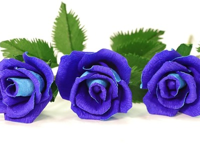 DIY Paper Flowers - How to Make Blue Paper Rose