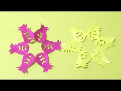Easy Chinese Paper Cutting(Pineapple) 简单剪纸(凤梨)簡単切り紙パイナップルです