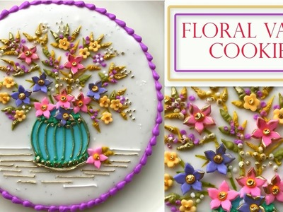 How to Decorate A Flower Cookie | Floral Vase Plaque