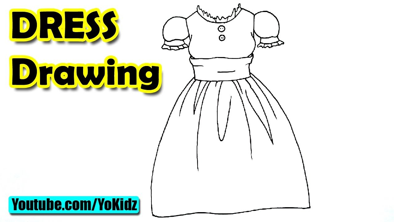 How to draw a dress for kids