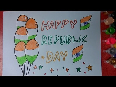 How to draw Republic Day Celebrations colorful poster step by step very easily for kids