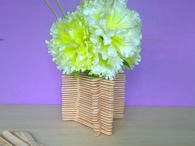 How  to make a flower pot with ice cream sticks at home | very simple step by step tutorials