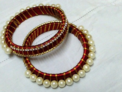 HOW TO MAKE A SILK THREAD BANGLES WITH PEARLS
