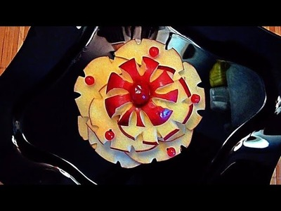 HOW TO MAKE APPLE FLOWER GARNISH & HOW TO CARVE APPLE  - FRUITS CARVING