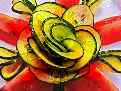 HOW TO MAKE CUCUMBER FLOWER - LEAF & TOMATO GARNISH & VEGETABLE CARVING & ART IN CUCUMBER