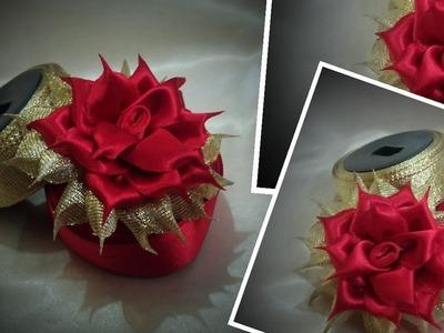How to make folded ribbon flower. kanzashi flower ribbon rose tutorial. kanzashi flower