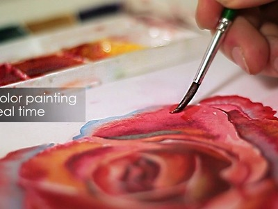 How to paint a rose with watercolors -  Real Time tutorial for beginers Beautiful flower - Full HD