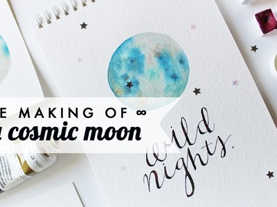 How to Watercolor x A Cosmic Moon!   Simple step-by-step