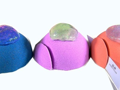 Learn Colors With DIY Kinetic Sand Cakes With Slime Icing by Rainbow Collector